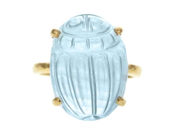 "Elizabeth Locke Oval Aquamarine ""Scarab"" Ring with Hammered Gold Prongs thumbnail"