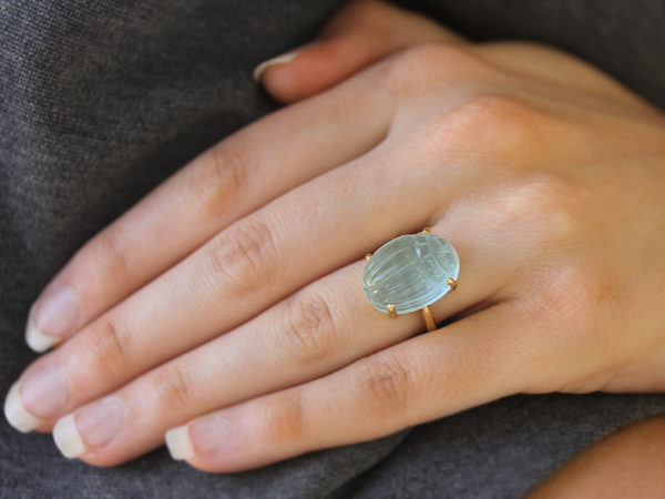 "Elizabeth Locke Oval Aquamarine ""Scarab"" Ring with Hammered Gold Prongs"