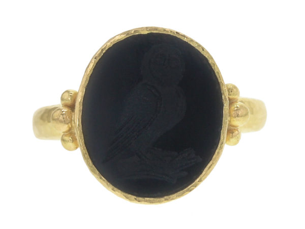 "Elizabeth Locke Vertical Oval Onyx ""Owl"" Ring with Gold Dots on Narrow Shank thumbnail"