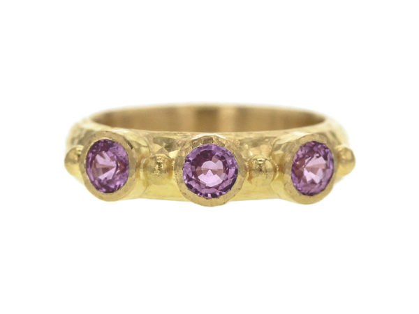 Elizabeth Locke Round Faceted Pink Sapphire Stack Ring with Gold Dots thumbnail
