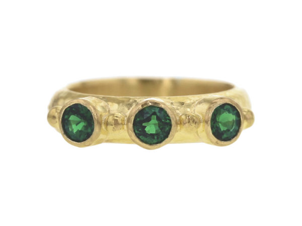 Elizabeth Locke Round Faceted Tsavorite Stack Ring with Gold Dots thumbnail