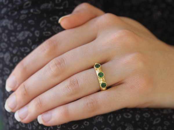 Elizabeth Locke Round Faceted Tsavorite Stack Ring with Gold Dots model shot #1