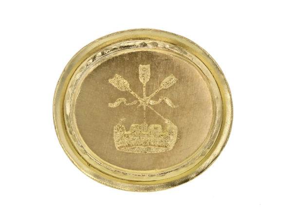 """Elizabeth Locke Gold """"Arrow and Castle"""" Seal in """"Athenian"""" Bezel Ring thumbnail"""
