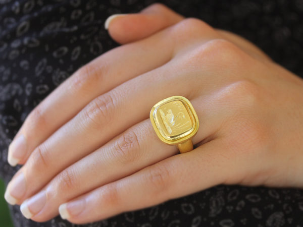 "Elizabeth Locke Gold ""Swan"" with ""Athenian"" Bezel and Heavy Shank Ring"
