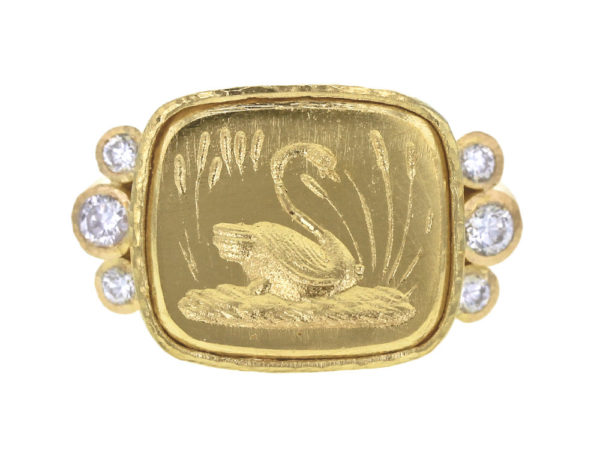 "Elizabeth Locke Gold ""Swan"" Ring with Side Diamonds thumbnail"
