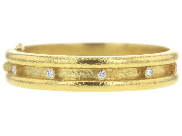 Elizabeth Locke Double Diamond Band Bangle Bracelet thumbnail