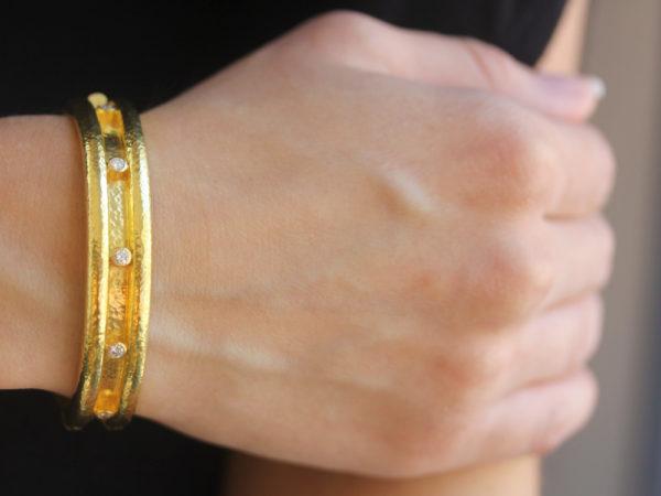 Elizabeth Locke Double Diamond Band Bangle Bracelet
