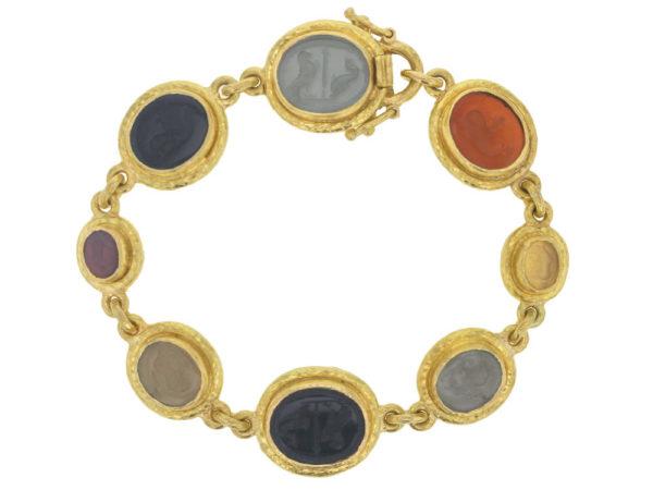"Elizabeth Locke Fall Venetian Glass Intaglio ""Dolphin"", ""Micro Horse"", ""Tiny Lion"", & ""Eagle & Dolphin"" Link Bracelet thumbnail"