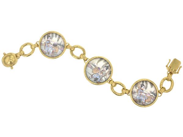 "Elizabeth Locke Antique Satsuma ""Geishas"" Button Link Bracelet thumbnail"