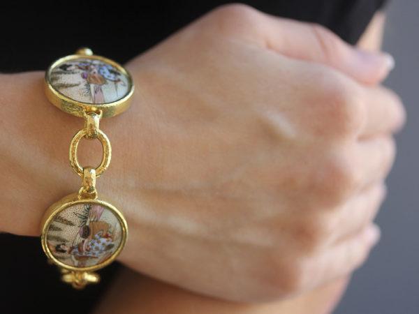 "Elizabeth Locke Antique Satsuma ""Geishas"" Button Link Bracelet model shot #2"
