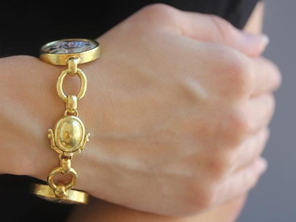 "Elizabeth Locke Antique Satsuma ""Geishas"" Button Link Bracelet model shot #3"