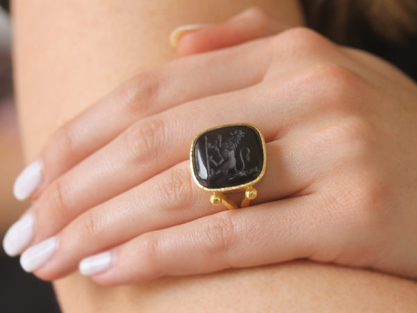 "Elizabeth Locke Square Cushion Onyx ""Lion"" Ring with Split Shank and Gold Dots"