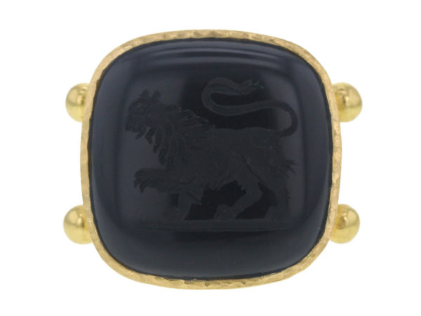 "Elizabeth Locke Square Cushion Onyx ""Lion"" Ring with Split Shank and Gold Dots thumbnail"