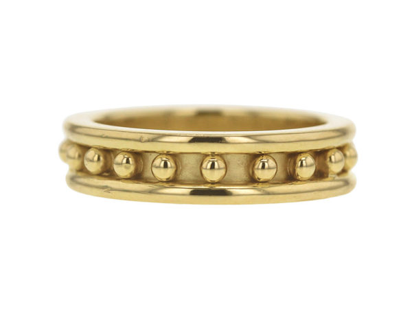 Elizabeth Locke Narrow Gold Granulated Stack Ring thumbnail