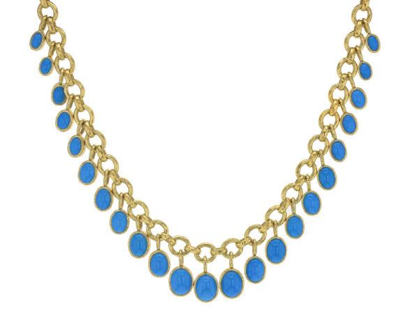 "Elizabeth Locke 16"" Turquoise Drop Charm Necklace thumbnail"