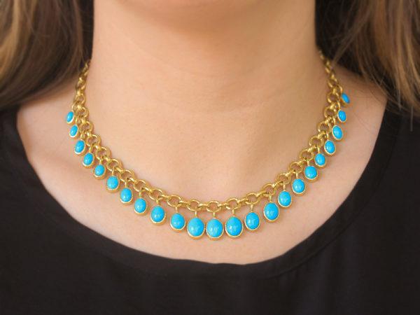 "Elizabeth Locke 16"" Turquoise Drop Charm Necklace"