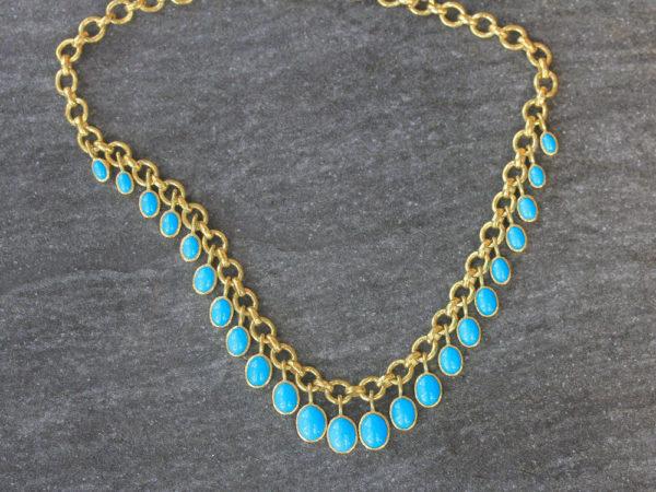 "Elizabeth Locke 16"" Turquoise Drop Charm Necklace model shot #2"