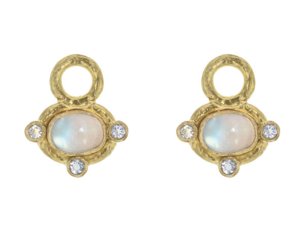 Elizabeth Locke Horizontal Oval Cabochon Moonstone Earring Charms for Hoops with Faceted Moonstones thumbnail