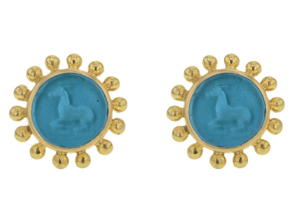 "Elizabeth Locke Teal Venetian Glass Intaglio ""Tiny Horse"" Stud Earring with Granulation thumbnail"