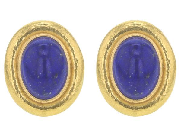 Elizabeth Locke Vertical Oval Lapis Earrings thumbnail