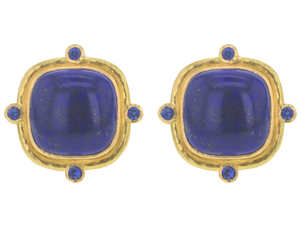 Elizabeth Locke Square Cushion Lapis Earrings with Blue Sapphires thumbnail