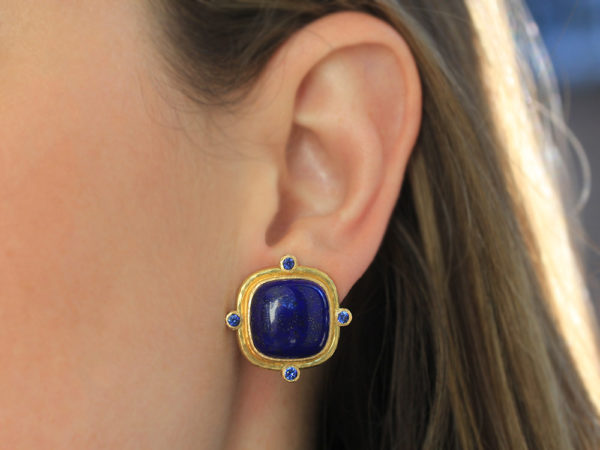 Elizabeth Locke Square Cushion Lapis Earrings with Blue Sapphires