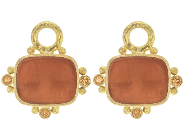 "Elizabeth Locke Amber Venetian Glass Intaglio ""Two Cranes"" Earring Charms With Faceted Spessartite Garnets thumbnail"
