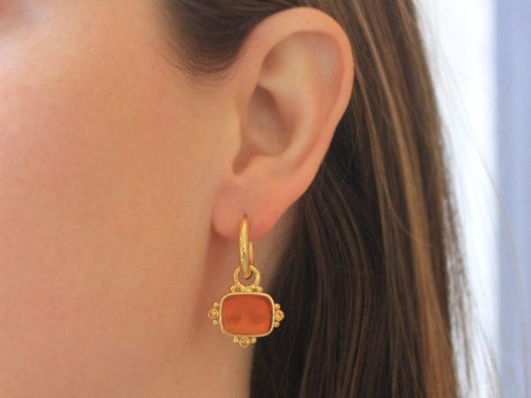 "Elizabeth Locke Amber Venetian Glass Intaglio ""Two Cranes"" Earring Charms With Faceted Spessartite Garnets"