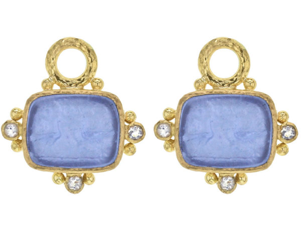 """Elizabeth Locke Cerulean Venetian Glass Intaglio """"Two Cranes"""" Earring Charms With Faceted Moonstones thumbnail"""