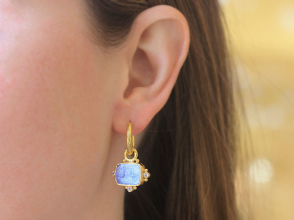 """Elizabeth Locke Cerulean Venetian Glass Intaglio """"Two Cranes"""" Earring Charms With Faceted Moonstones"""