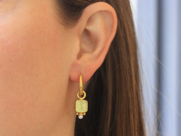 """Elizabeth Locke Lime Venetian Glass Intaglio """"Square Putto"""" Earring Charms With Pearls for Hoops"""