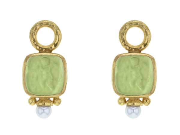 """Elizabeth Locke Lime Venetian Glass Intaglio """"Square Putto"""" Earring Charms With Pearls for Hoops thumbnail"""