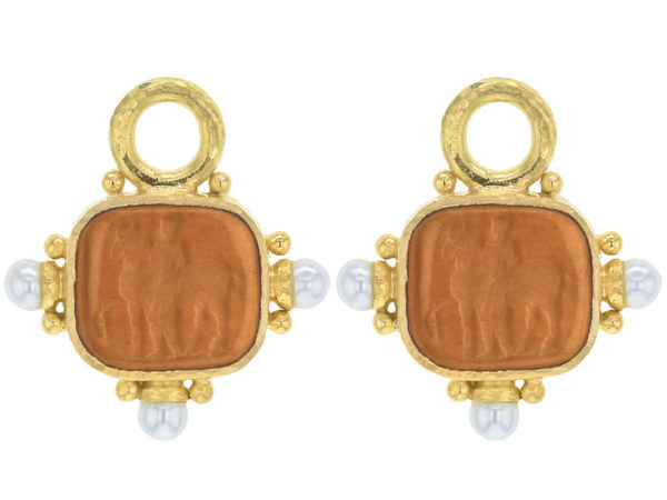 """Elizabeth Locke Amber Venetian Glass Intaglio """"God with Horse"""" Earring Charms For Hoops with Pearl and Side Gold Dots thumbnail"""