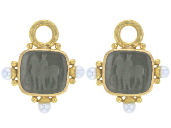 """Elizabeth Locke Smoke Venetian Glass Intaglio """"God with Horse"""" Earring Charms For Hoops with Pearl and Side Gold Dots thumbnail"""