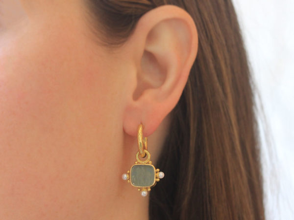 """Elizabeth Locke Smoke Venetian Glass Intaglio """"God with Horse"""" Earring Charms For Hoops with Pearl and Side Gold Dots"""
