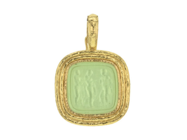 "Elizabeth Locke Lime Venetian Glass Intaglio ""Three Graces"" Pendant With Flat Ridged Bezel And Clip Bale thumbnail"