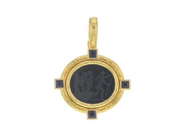 "Elizabeth Locke Black Venetian Glass Intaglio ""Goddess On Boat"" Pendant With Square Faceted Stones thumbnail"