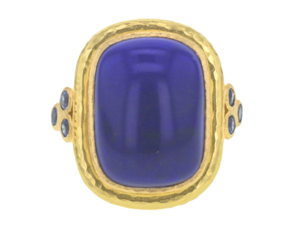Elizabeth Locke Cushion Cut Cabochon Lapis Ring with Blue Sapphire Triads thumbnail