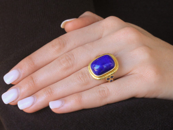 Elizabeth Locke Cushion Cut Cabochon Lapis Ring with Blue Sapphire Triads