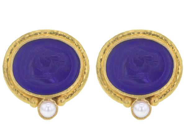 "Elizabeth Locke Cobalt Venetian Glass Intaglio ""Cavallo"" Earrings in Thin Godron Bezel With Bottom Pearl thumbnail"