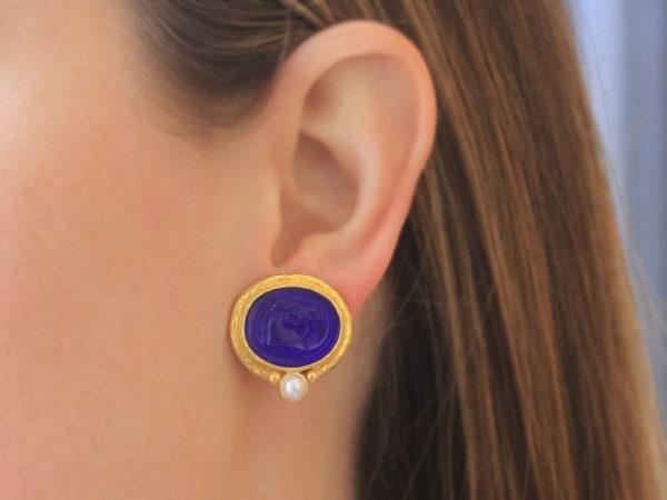 """Elizabeth Locke Cobalt Venetian Glass Intaglio """"Cavallo"""" Earrings in Thin Godron Bezel With Bottom Pearl"""