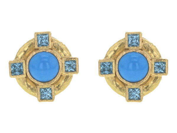 Elizabeth Locke Round Turquoise and Blue Zircon Earrings thumbnail