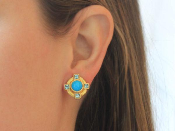 Elizabeth Locke Round Turquoise and Blue Zircon Earrings