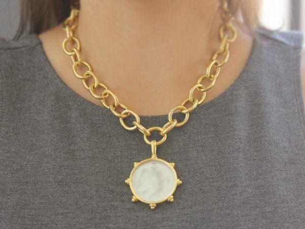 "Elizabeth Locke Crystal Venetian Glass Intaglio ""Angel With Child"" Pendant"