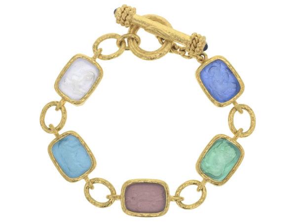 "Elizabeth Locke Pastel Venetian Glass Intaglio Antique ""Animals"" Link Bracelet With Toggle Clasp thumbnail"