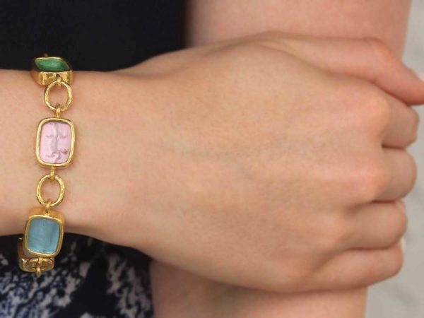 "Elizabeth Locke Pastel Venetian Glass Intaglio Antique ""Animals"" Link Bracelet With Toggle Clasp"