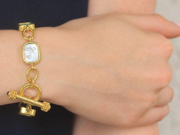 "Elizabeth Locke Pastel Venetian Glass Intaglio Antique ""Animals"" Link Bracelet With Toggle Clasp model shot #2"