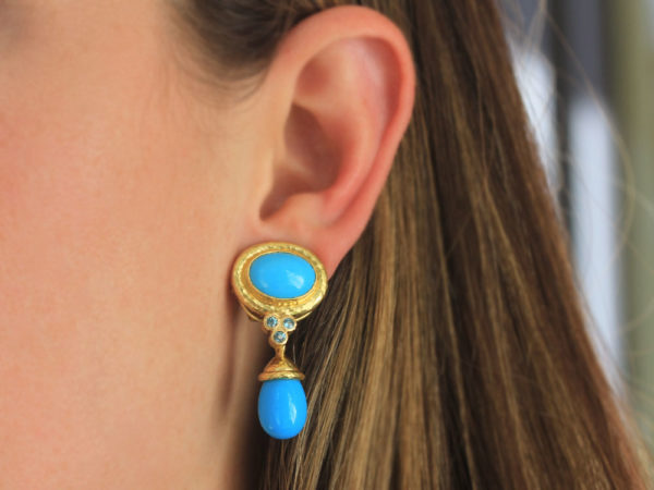 Elizabeth Locke Horizontal Oval Turquoise Earrings with Blue Zircon Triads and Detachable Turquoise Drop with Acorn Cap