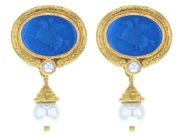 "Elizabeth Locke Peacock Venetian Glass Intaglio ""Pegasus"" Earrings with Pearl and Side Granulation and Detachable Acorn-Capped White Pearl Drop thumbnail"