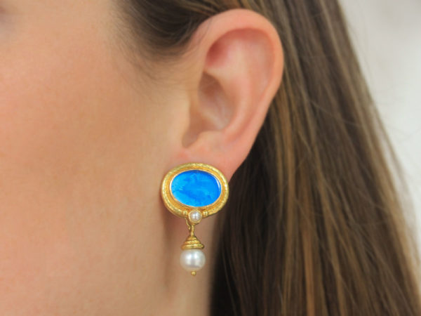 """Elizabeth Locke Peacock Venetian Glass Intaglio """"Pegasus"""" Earrings with Pearl and Side Granulation and Detachable Acorn-Capped White Pearl Drop"""